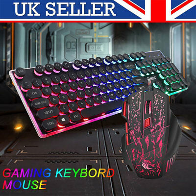 Keyboard and Mouse Set RGB Backlit Wired USB Multimedia Gaming for PC Laptop