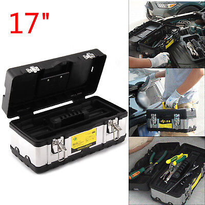 17 Inch Heavy Duty Stainless Steel Tool Box Chest Storage Case + Removable Tray