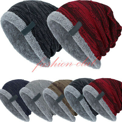 7b438a6ad18 Men Women Knitted Chunky Slouchy Beanie Outdoor Fleece Warm Winter Ski Hat  Cap