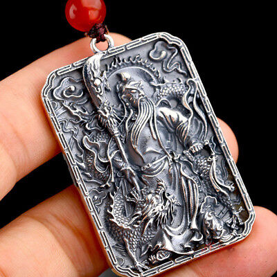 Authentic 990 Sterling Silver Ancient Hero GuanYu Pendant 46mm H