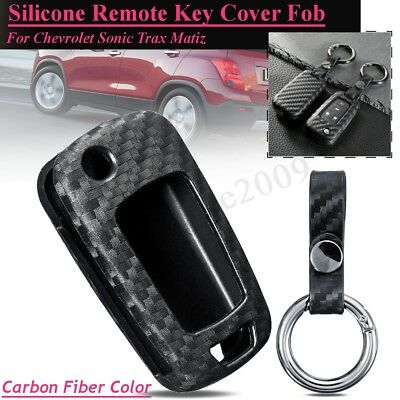 Carbon Fiber Color Silicone Remote Key Cover Fob For Chevrolet Cheyenne Express