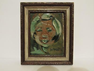 """Vintage abstract collage Oil Painting """"Girl in Green"""" Modernist Artist: Schmatz"""