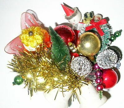 Vintage Mercury Bead Frosted Bell Pine Cone Angel Wreath Christmas Corsage Pin