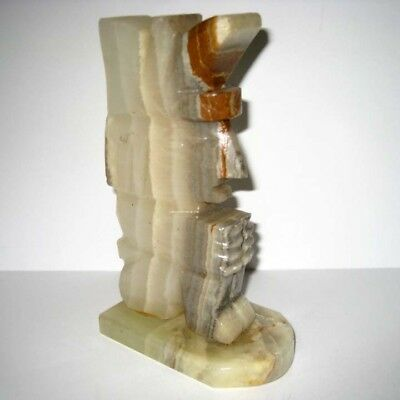 "Carved Marble Onyx Mayan Aztec Bookend Figure 7-1/4"" Tall - Excellent"