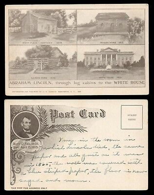 1905 UDB Postcard - ABRAHAM LINCOLN Log Cabin Birthplace, Homes & White House