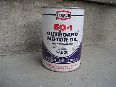 Vintage Texaco 50-1 Outboard Motor Oil Can....FULL Unopened