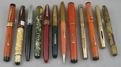 Lot of 12 Vintage Fountain Pens For Repair or Parts - Morrison, Penman, American