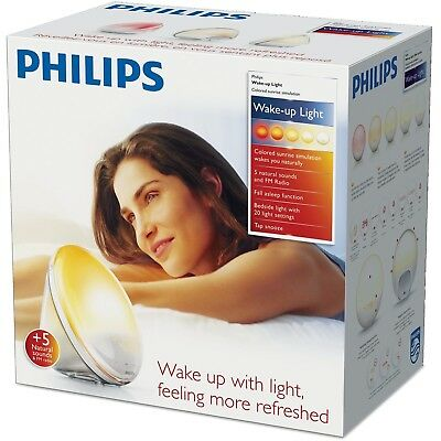PHILIPS Wake-Up Light Alarm Clock HF3520/01 Coloured Sunrise Simulation NEW +WTY