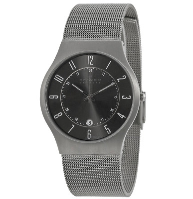 SKAGEN Mens/Gents ULTRA SLIM TITANIUM WATCH 233XLTTM Grey Dial with Date NEW