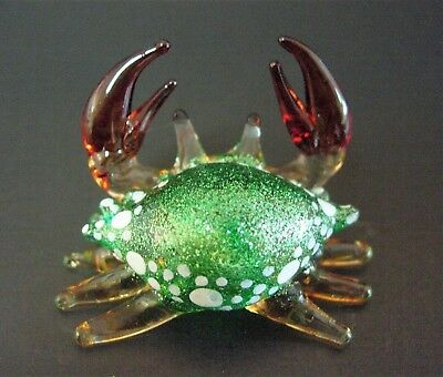Tiny Miniature Glass CRAB Shiny Glittered Green Shell Sea Glass Animal Ornament