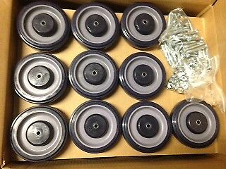 """New LOT 30 5"""" Shopping Grocery Cart Wheels w/ Hardware HQ MRO Poly"""