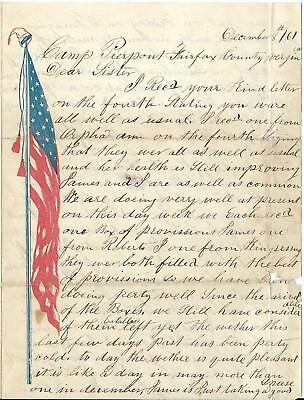 Union Letter David Green 4th Penn Reserves, Camp Pierpoint, Va to Sister 12/8/61