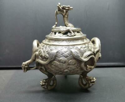 Collectible Decorated Old Handwork Tibet Silver Carved 6 Dragon Incense Burner