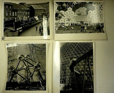 4  B/w Photos, The Atomium, 1958 Brussels World Fair (Expo 58) Belgium