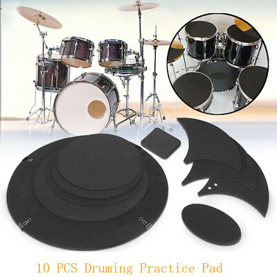 10Pcs Drum Sound Off Quiet Rubber Foam Bass Practice Silencer Mute Pad New