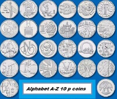 Alphabet A-Z 10 p coins Ten Pence coin Collection 2018 bond angel yeoman new