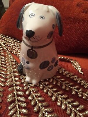 Rye Pottery Dog Blue Grey Paint Detail Spots And Tag Design