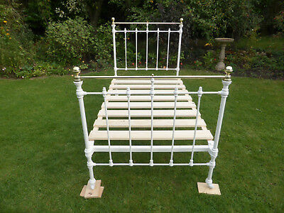 Pretty White Victorian Cast Iron + Brass Large Single Bed