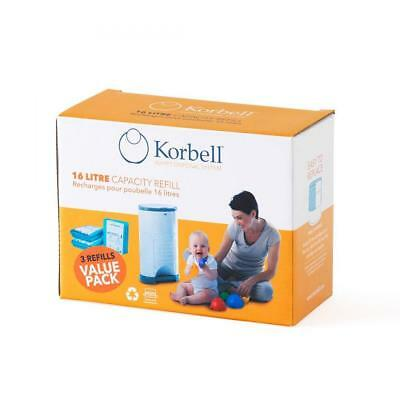 Korbell Nappy Disposal Bin Liners - Standard (16 Litre) - 3 Refills Value Pack