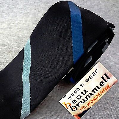 Vintage BEAU BRUMMELL Tie BLACK & REGIMENTAL STRIPES MIDCENTURY Skinny WASHABLE