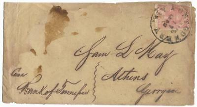CSA Cover Montgomery, Ala to Sam L. May in Athens, Ga, Rare #5 Stamp, CDS6/11/62