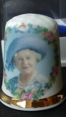 The Queen Mother Elizabeth 100Th Birthday 2000 Bone China Souvenir Thimble Cased