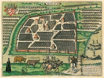 1556 Moscow Russia Illustrated Historic Map - 24x32