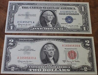 1963 A Two Dollar United States Note And 1957 B One Dollar Silver Cert. Unc.