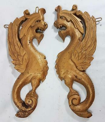 LARGE PAIR OF ANTIQUE CARVED OAK DRAGONS mythical carvings FANTASTIC BEASTS