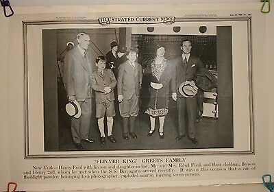 Ill'd Current News Photo Transportation   Henry Ford Edsel Ford & Family 1929