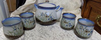 Vintage Otagiri Tea Set~Tea Pot, 4 Cups~Iris Design~Blues/Earthtones