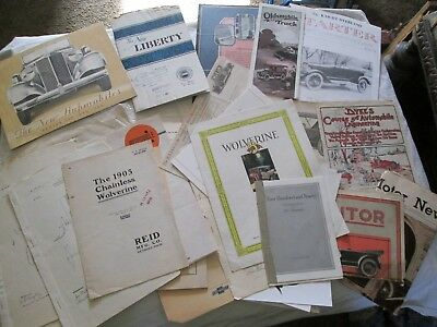 Lot of 29 Vintage Automobile Brochures, Patent Drawing, Sales Papers, Photos
