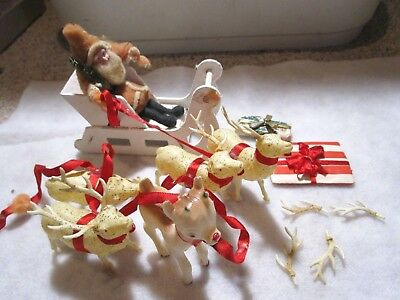 Antique/vintage Santa & Sleigh With Celluloid Reindeer
