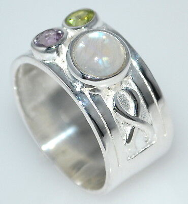 Sterling 925 Silver Ring 3 Multi Gem Birthstone Rings; All Sizes 5½ , L to 12½,