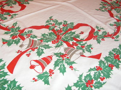 Vintage Christmas Tablecloth Cotton Print Bells Holly Bows Berries Christmas