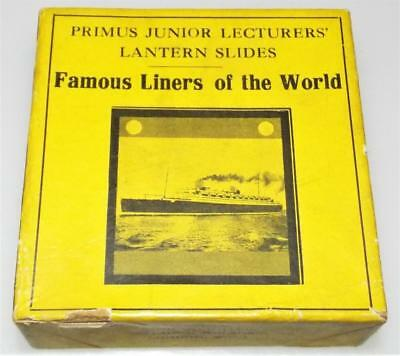 Famous Liners of The World - Boxed Set of 8 Antique Magic Lantern Slides c1910