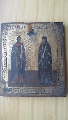 Ikone,Antique Russian Orthodox icon ,,Holy Saints,, from 19c.