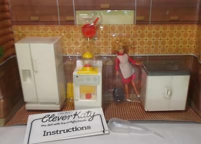 Vintage CLEVER KATY doll's house doll & Kitchen furniture by New Ideas Hong Kong
