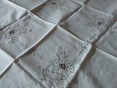 Vintage Cream Linen Beige Hand Embroidered Table Cloth.