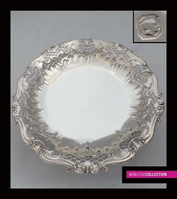 TETARD Frères:  ANTIQUE 1900s FRENCH STERLING SILVER COMPOTE SERVING TRAY Rococo