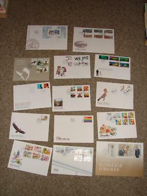 ( T664)  2016 Sweden 14 First Day Covers Look Loads Listed