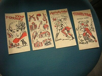 LOt of 4 Davy Crockett Iron On Decals, unused (1950's +/-)