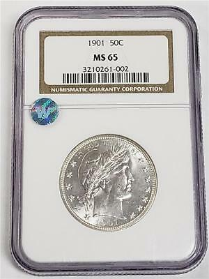 1901 Barber Silver Half Dollar MS65 NGC United States Mint 50c White Coin