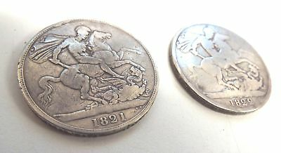 2x Antique SILVER King George IIII IV Era Crown COINS Dated 1821 & 1822 - L03