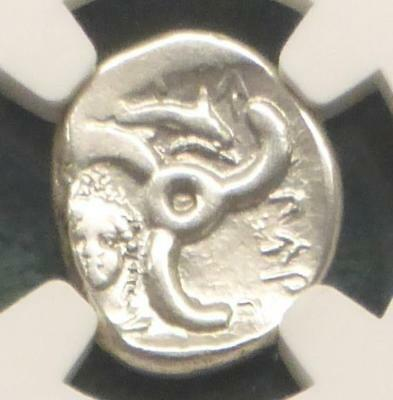 390 BC NGC XF 1/3 Stater Dynasts Lycia Lion Dolphin Pericles Silver Ancient Coin