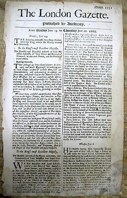 1687 London Gazette newspaper LongDetailed PIRATE BATTLE in GOLDEN AGE of PIRACY