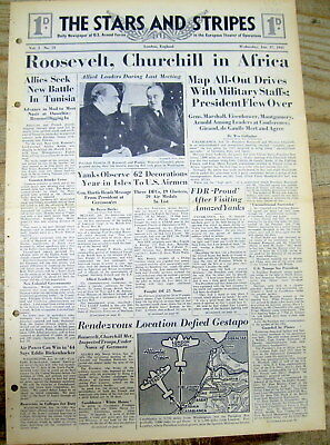 1943 WW II Stars & Stripes newspaper CASABLANCA CONFERENCE Roosevelt & Churchill