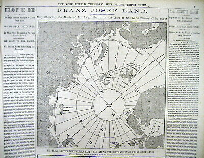 1881 newspaper with MAP & long report ARCTIC EXPLORATION by BENJAMIN LEIGH SMITH