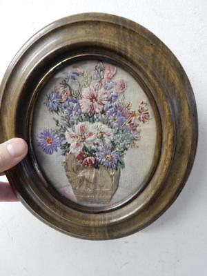 old antique PICTURE embroidery silk gold cottons flowers