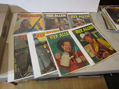 DELL 10c REX ALLEN COWBOY WESTERN COMICS - LOT OF 7 FROM 1950s